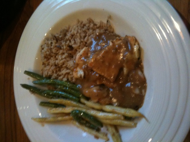 Photo of Chicken Marsala with brown rice and green beans
