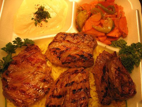 Beef Shish Kabob Entree at Jerusalem Cafe