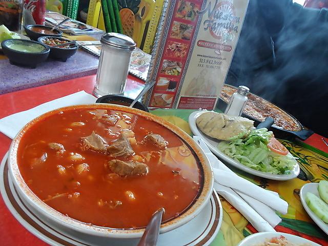 Traditional Red Pozole Grande  - POZOLE at Taqueria Nuestra Familia