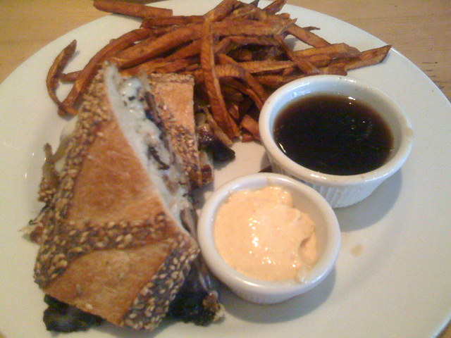 Photo of french dip (with portabella mushrooms)
