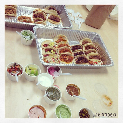 Taco and ceviche delivery for our office party on Seymour street in Vancouver, BC #taco #ceviche #de - Delivery at La Casita Tacos