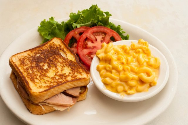 Side of Macaroni and Cheese-$1.79. - Turkey Sandwich on Texas Toast with Lettuce and Tomato at Cokers Barbecue