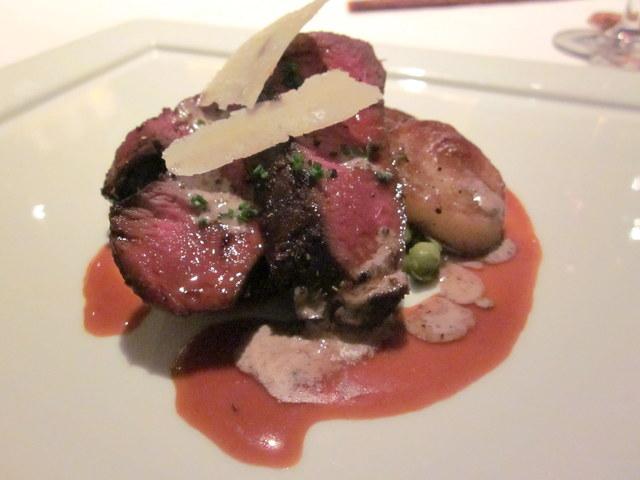 Photo of Chargrilled Elk Tenderloin with Pea Mash, Truffle Dressing