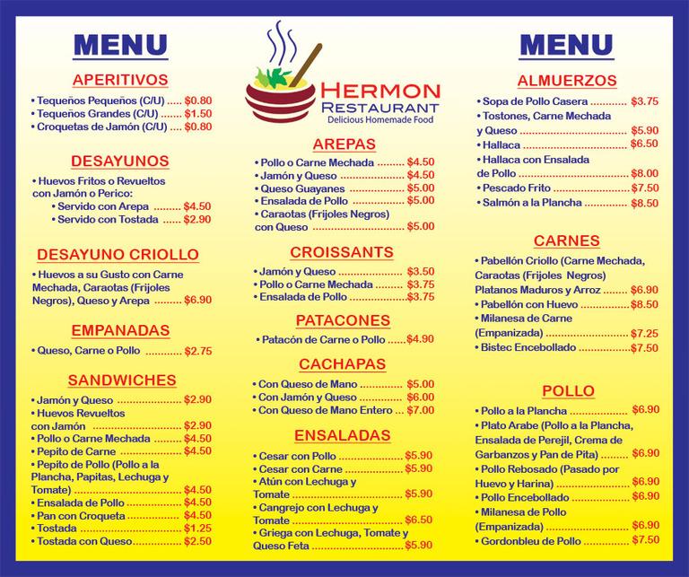 Criollo Cafe Menu