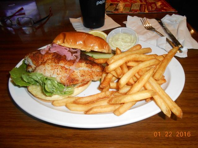 NOT BLACKEN - grouper sandwich at Stevie Tomatoe Sports Bar