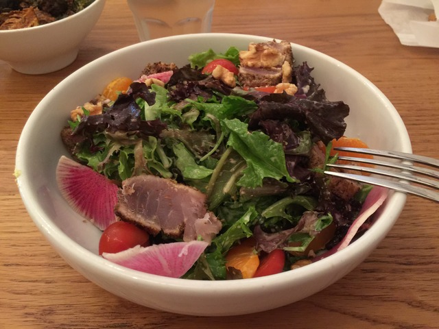Sweet, light dressing with fresh albacore. Delicious. - Seared Albacore Salad at fundamental LA