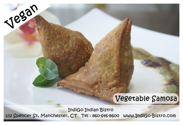 Vegetable Samosa ( Vegan) @ IndiGo Indian Bistro - Manchester CT at IndiGo Indian Bistro