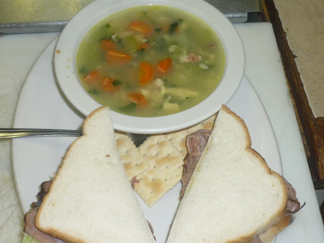 Photo of chicken pastini soup with sandwich